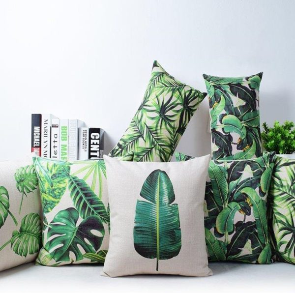 banana leaf print pillows